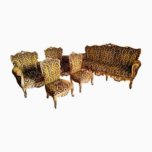 Living Room in Baroque Style with Sofa, Armchairs, Little Armchairs and Coffee Table, 1960s, Set of 6