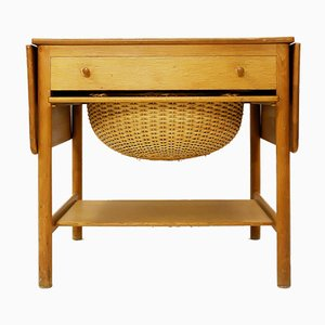 Mesa de costura AT-33 de teca y roble de Hans J. Wegner para Andreas Tuck, años 50
