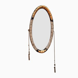 Ovaler Spiegel mit lackiertem Holzrahmen und goldenem Holzrahmen