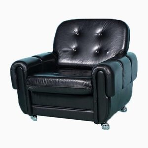 Space Age Lounge Chair in Black Leather