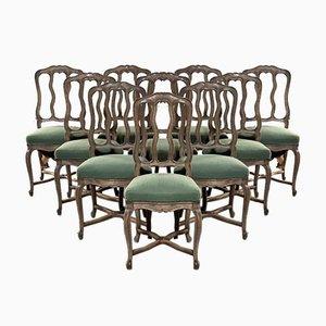 Französische Esszimmerstühle aus gebleichter Eiche, 10er Set