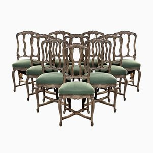 French Bleached Oak Dining Chairs, Set of 10