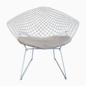 Diamond Chair in Steel White by Harry Bertoia for Knoll Inc./Knoll International, 1980s
