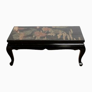 Small Chinoiserie Coffee Table with Black Lacquer, Early 20th Century