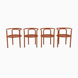 Orange Locus Solus Chairs by Gae Aulenti for Poltronova, 1960s, Set of 4