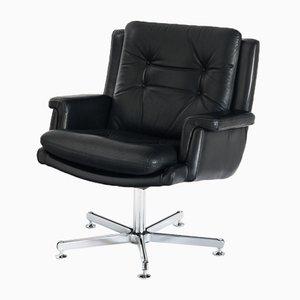 Leather Swivel Armchair, France, 1960s