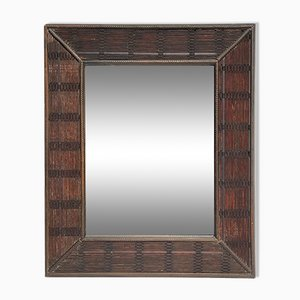 Espejo con marco ondulado de bambú y ratán