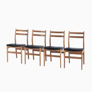 Scandinavian Style Chairs in Teak and Plaster, France, 1960s, Set of 4