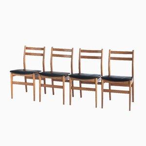 Skandinavische Stühle aus Teak und Gips, Frankreich, 1960er, 4er Set