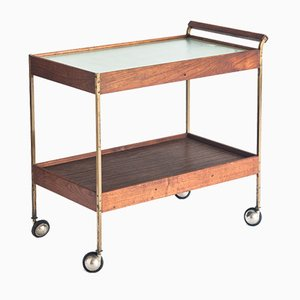 Serving Trolley with Plate-Warming Surface in Teak, Brass and Crystal, France, 1960s