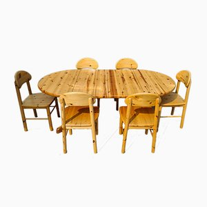 Extendable Pinewood Dining Set with 6 Chairs, Set of 7
