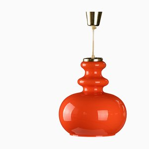 Space Age Glass Ceiling Lamp in Orange, 1970s