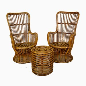 Armchairs & Pouf in Rattan and Bamboo, Italy, 1970s, Set of 3