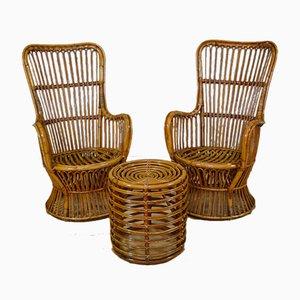 Armlehnstühle & Pouf aus Rattan & Bambus, Italien, 1970er, 3er Set