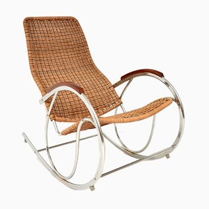 Vintage Rattan & Chrome Rocking Chair, 1970s