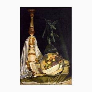 Maxmilian Ciccone, La lente, il candelabro e il libro, Oil on Canvas