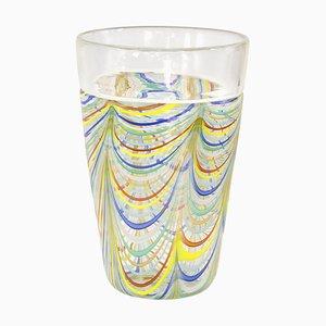 Phönizische Spitzenvase aus Murano Glas mit polychromen Filigranbeinen und Kristallglas von Archimede Seguso
