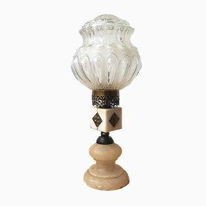 Art Deco Tischlampe aus Marmor & Glas, 1920er