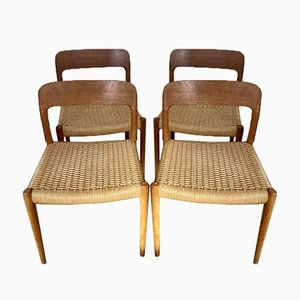 Model 75 Chairs by Niels Otto (N. O.) Møller for J. L. Møllers, Set of 4