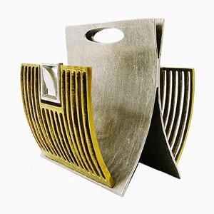 Brass and Silver Metal Brutalist Magazine Rack