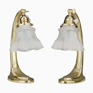 Table Lamps with Glass Shades, 1907, Set of 2