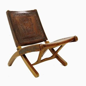 Tooled Leather Folding Chair by Angel Pazmino, 1960s
