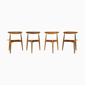 Model FH4103 Heart Dining Chairs by Hans Wegner for Fritz Hansen, Denmark, 1950s, Set of 4