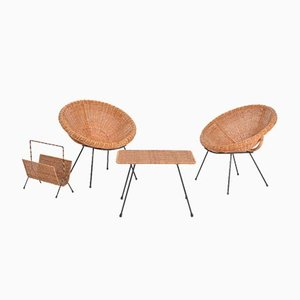 Italian Mid-Century Rattan Bowl Chairs with Side Table and Magazine Rack, Set of 4