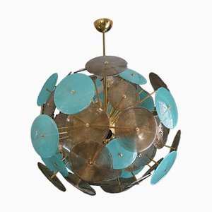 Murano Turquoise and Smoked Glass Chandelier, 1980