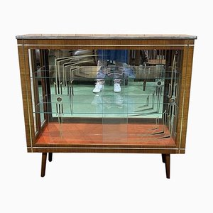 English Showcase Cabinet with Compass Feet in Teak, 1970s