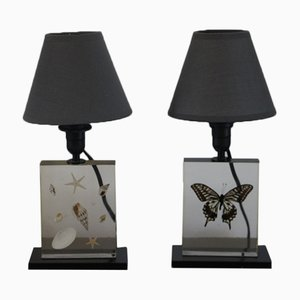 Resin Table Lamps with Inclusions, 1970s, Set of 2