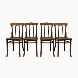 Antique Polish Thonet Style Bentwood Bistro Chairs with Pressed Seats , Set of 4