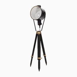 Industrielle Vintage Vintage Stehlampe mit höhenverstellbarem schwarz gebeiztem Dreibein aus Holz