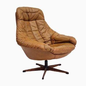 Danish Swivel Armchair by H. W. Klein in Original Leather, 1970s