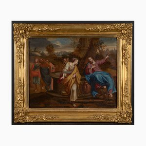 Barockes biblisches Ölgemälde von Jesus und der Samariterin, 17. Jh