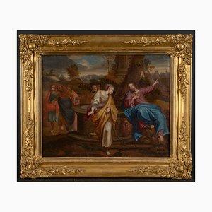 Pintura al óleo bíblica barroca de Jesús y la mujer samaritana del siglo XVII