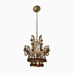 Venetian Gilded Murano Glass Drop Chandelier