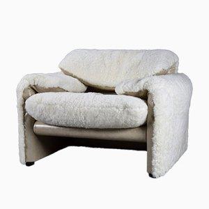 Weißer Maralunga Sessel aus Schafsfell von Vico Magistretti für Cassina, Italien