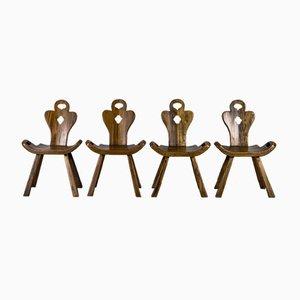 Brutalistische Stühle aus Eiche im Stil von Carl Malmsten für OH Sjögren, 1960er, 4er Set