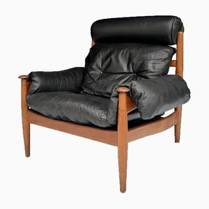 Mid-Century Leather Lounge Armchair by Eric Merthen for Ire Möbler, 1960s, Sweden