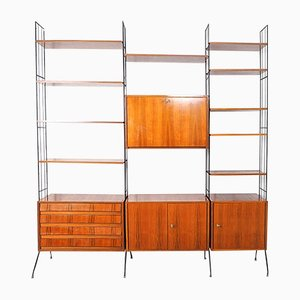 Freestanding Wall Unit, Germany, 1950s, Set of 7