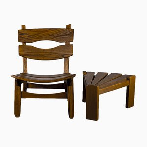 Brutalist Chair and Stool in Oak by Dittmann & Co., 1960s, Set of 2