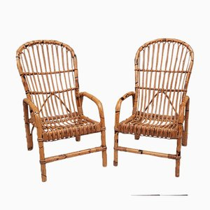 Armchairs in Bamboo, Italy, 1970s, Set of 2