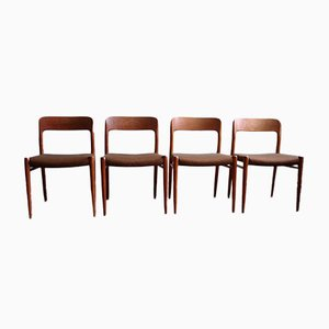 Model 75 Dining Chairs by Niels O. Møller, Set of 4