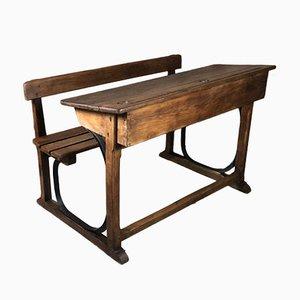 School Desk in Oak with Iron Details, 1930s