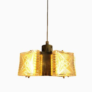 Vintage Design Space Age Pendant Lamp in Brass and Glass, 1970s