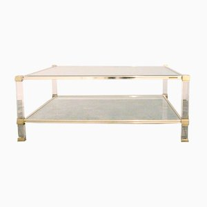 Square Two Tiered Lucite and Brass Coffee Table by Pierre Vandel, 1970s