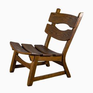 Brutalist Chair in Oak by Dittmann & Co fort Awa Radbound, 1960s