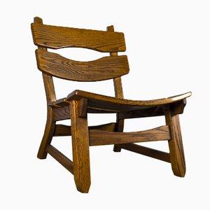 Sedia brutalista in quercia di Dittmann & Co per Awa Radbound, anni '60