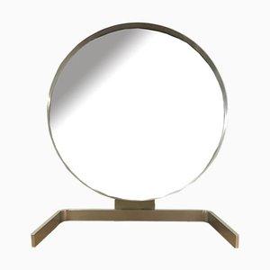Brushed Aluminum Cheval Mirror by Guy Lefevre for Maison Jansen, France, 1970s